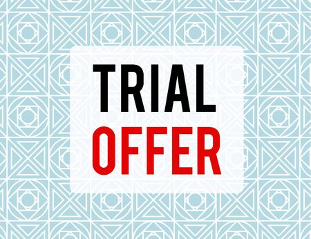 Writing note showing Trial Offer. Business concept for A temporary free or discounted offer of a product or services Endless Geometric Outline Tiles Pattern in Line against Blue Background