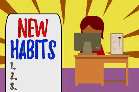Texto de escritura nuevos hábitos. Foto conceptual cambia la rutina de comportamiento que se repite regularmente. Foto de archivo