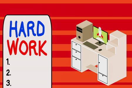 Text sign showing Hard Work. Business photo text always putting a lot of effort and care into work or endurance Working desktop station drawers personal computer launching rocket clouds