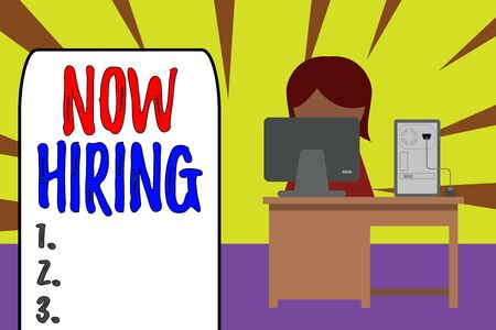 Handwriting text Now Hiring. Conceptual photo Workforce Wanted Employees Recruitment Today Job Opportunity Young female working office sitting desktop computer office monitor photo
