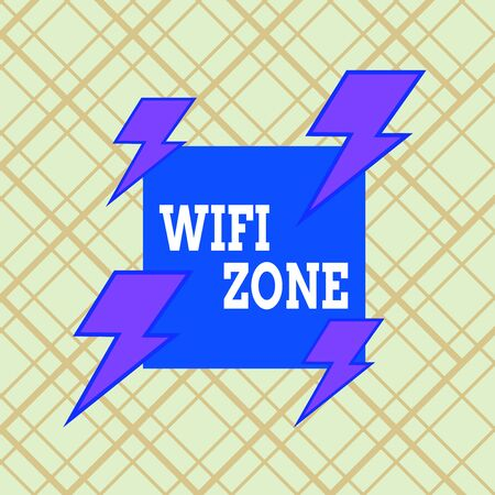 Writing note showing Wifi Zone. Business concept for provide wireless highspeed Internet and network connections Asymmetrical format pattern object outline multicolor design Stock Photo
