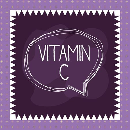 Word writing text Vitamin C. Business photo showcasing it promotes healing and helps the body absorb iron Ascorbic acid Speaking bubble inside asymmetrical shaped object outline multicolor design Foto de archivo - 135209791