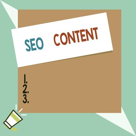 Text sign showing Seo Content. Business photo text creating content that helps web pages to rank high in search Speaking trumpet on left bottom and paper attached to rectangle background