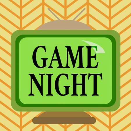Word writing text Game Night. Business photo showcasing event in which folks get together for the purpose of getting laid Square rectangle old multicoloured painting television picture wood design