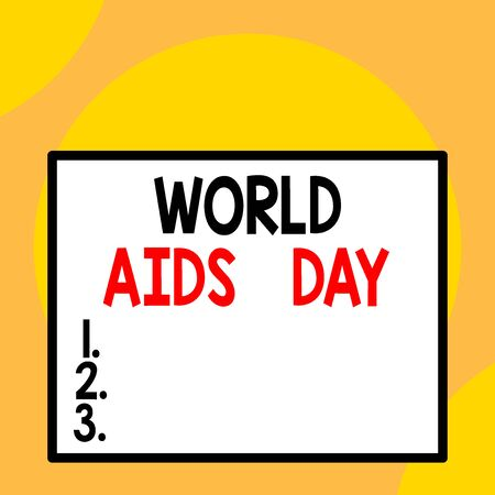 Writing note showing World Aids Day. Business concept for 1st December dedicated to raising awareness of the AIDS Front close up view big blank rectangle abstract geometrical background Archivio Fotografico