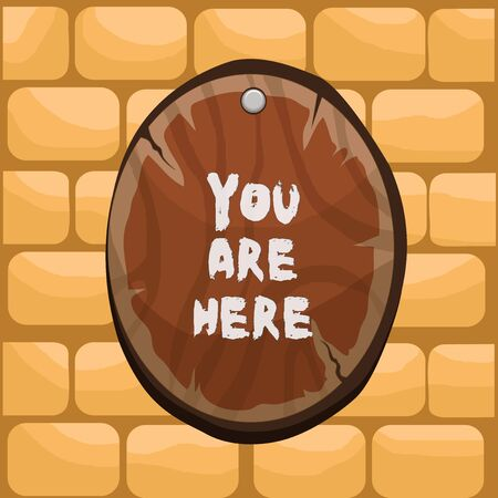 Handwriting text writing You Are Here. Conceptual photo This is your location reference point global positioning system Oval plank rounded pinned wooden board circle shaped wood nailed background
