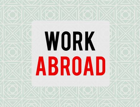Writing note showing Work Abroad. Business concept for Getting a job or working in a foreign geographical area Endless Geometric Outline Tiles Pattern in Line against Blue Background Stock fotó