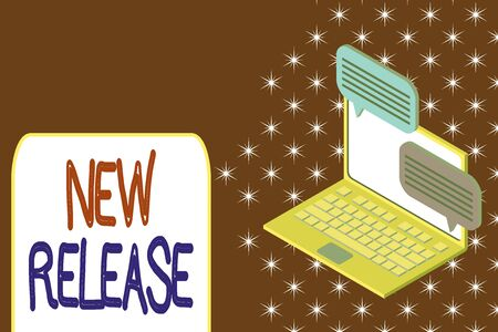Conceptual hand writing showing New Release. Concept meaning announcing something newsworthy recent product in the market Laptop receiving sending information internet wireless 스톡 콘텐츠