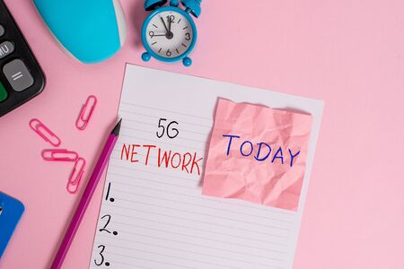 Text sign showing 5G Network. Business photo showcasing greatly increase the speed and responsiveness of wireless network Calculator clips clock clipboard mouse sheet note pencil color background