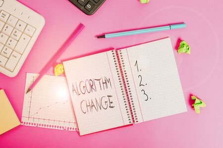 Conceptual hand writing showing Algorithm Change. Concept meaning change in procedure designed to perform an operation Writing equipments and computer stuff placed on wooden table