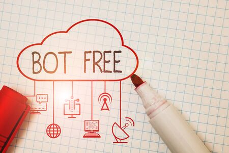 Word writing text Bot Free. Business photo showcasing a computer program that works automatically Internet robots