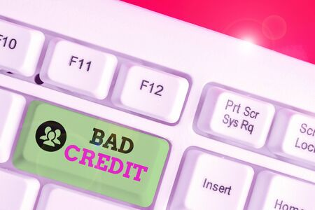 Text sign showing Bad Credit. Business photo text inability of a demonstrating or company to repay a debt on time 版權商用圖片 - 135242648