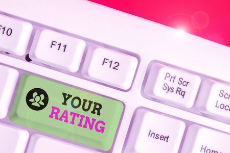 Text sign showing Your Rating. Business photo text score or measurement of how good or popular a demonstrating is 版權商用圖片