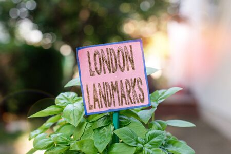 Writing note showing London Landmarks. Business concept for most iconic landmarks and mustsee London attractions Plain paper attached to stick and placed in the grassy land