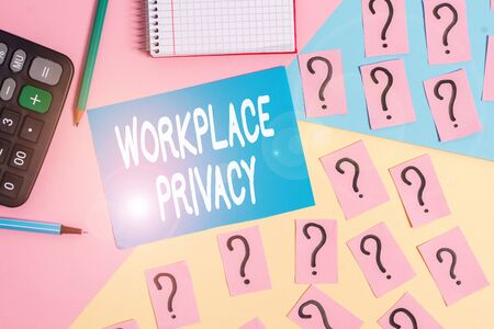 Word writing text Workplace Privacy. Business photo showcasing protection of individual privacy rights in the workplace Mathematics stuff and writing equipment above pastel colours background