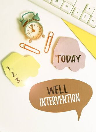 Writing note showing Well Intervention. Business concept for work carried out on gas well to alter or analysisage its health Flat lay with copy space on bubble paper clock and paper clips