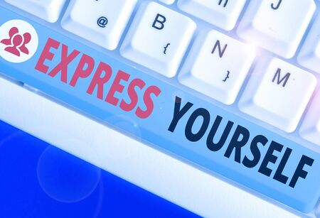 Text sign showing Express Yourself. Business photo text to communicate or reveal one s is thoughts or feelings Stock fotó
