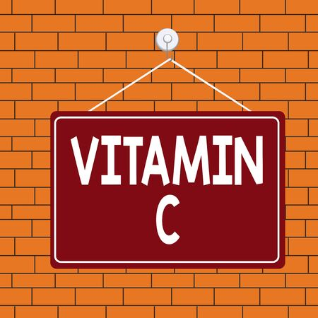 Text sign showing Vitamin C. Business photo text it promotes healing and helps the body absorb iron Ascorbic acid Colored memo reminder empty board blank space attach background rectangle Foto de archivo - 135242900