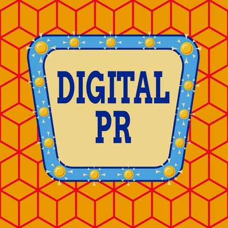 Conceptual hand writing showing Digital Pr. Concept meaning marketing strategy used to increase their online presence Asymmetrical uneven shaped pattern object multicolour design