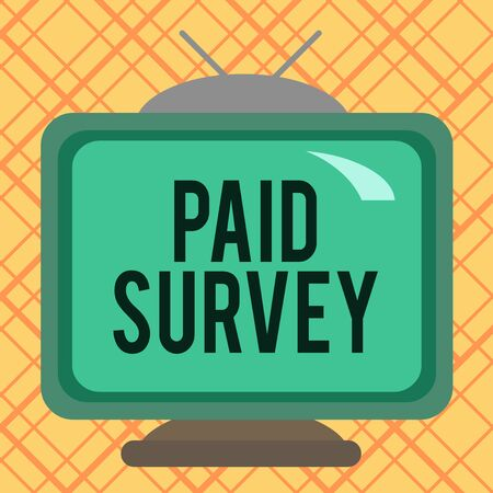 Handwriting text writing Paid Survey. Conceptual photo statistical survey where the participants are rewarded or paid Square rectangle old multicoloured painting television picture wood design Zdjęcie Seryjne