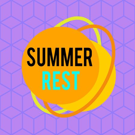 Conceptual hand writing showing Summer Rest. Concept meaning taking holiday break or unwind from work or school during summer Asymmetrical format pattern object outline multicolor design Stock Photo