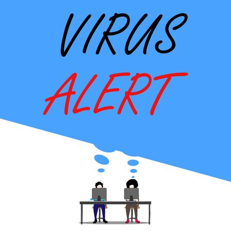 Text sign showing Virus Alert. Business photo text message warning of a nonexistent computer virus threat Man with purple trousers sit on chair talk to fellow near computer table