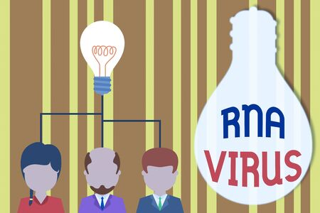 Handwriting text Rna Virus. Conceptual photo a virus genetic information is stored in the form of RNA Group three executive persons sharing idea icon. Startup team meeting