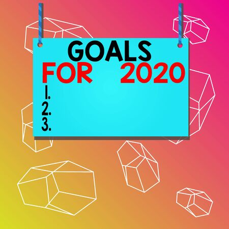 Word writing text Goals For 2020. Business photo showcasing The following things you want to have and achieve in 2020 Wooden board wood rectangle shape empty frame fixed colorful striped string