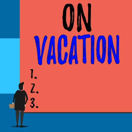 Text sign showing On Vacation. Business photo showcasing period spent away from home or business in travel or recreation Back view young woman watching blank big rectangle. Geometrical background