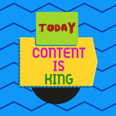 Writing note showing Content Is King. Business concept for Content is the heart of todays marketing strategies Electronic device with non symmetrical triangle for printing