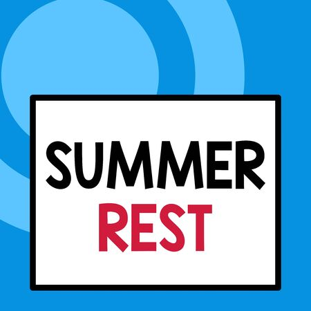 Conceptual hand writing showing Summer Rest. Concept meaning taking holiday break or unwind from work or school during summer Close up view big blank rectangle abstract geometrical background Stock Photo
