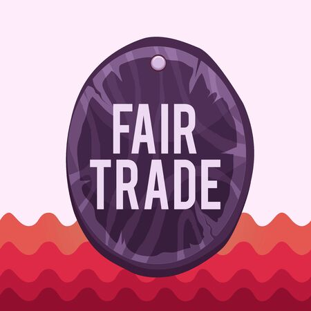 Conceptual hand writing showing Fair Trade. Concept meaning buying goods directly from producers in developing countries Oval plank round wooden board circle shaped wood background