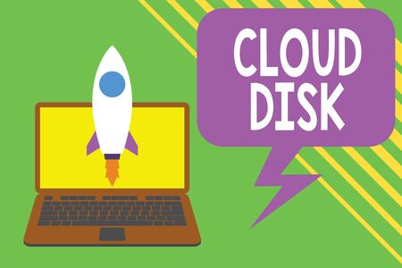 Handwriting text writing Cloud Disk. Conceptual photo web base service that provides storage space on a remote server Launching rocket up laptop . Startup project. Developing goal objectives