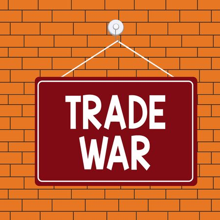 Text sign showing Trade War. Business photo text a situation in which countries try to damage each other s is trade Colored memo reminder empty board blank space attach background rectangle
