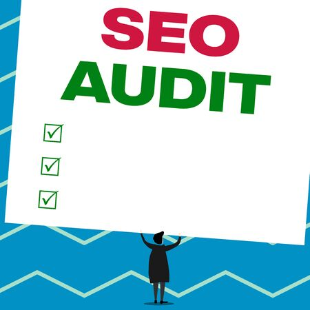 Handwriting text writing Seo Audit. Conceptual photo Search Engine Optimization validating and verifying process Man stands in back view under huge empty blank big tilted rectangle board