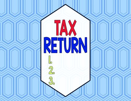 Conceptual hand writing showing Tax Return. Concept meaning Tax payer financial information Tax Liability and Payment report Seamless Hexagon Tiles in Line Perspective Depth Deepness