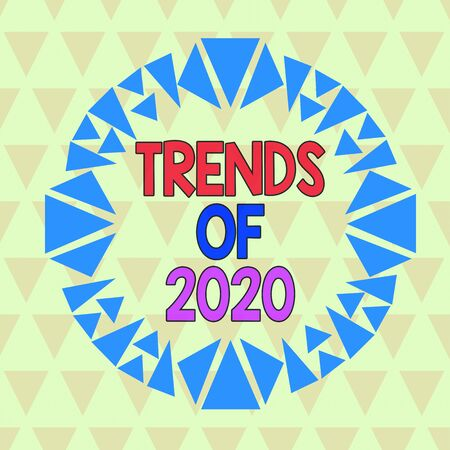Text sign showing Trends Of 2020. Business photo text things that is famous for short period of time in current year Asymmetrical uneven shaped format pattern object outline multicolour design Banco de Imagens