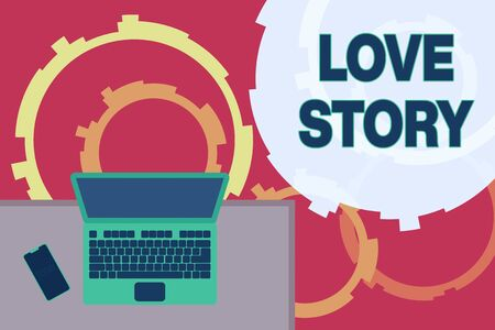 Writing note showing Love Story. Business concept for it is something such as a novel or movie about a love affair Office working place laptop lying wooden desk smartphone Stock Photo