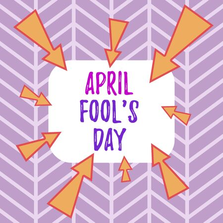 Word writing text April Fool S Day. Business photo showcasing Practical jokes humor pranks Celebration funny foolish Asymmetrical uneven shaped format pattern object outline multicolour design 스톡 콘텐츠