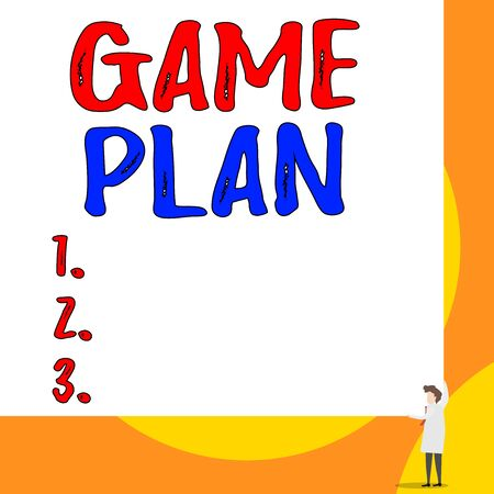 Conceptual hand writing showing Game Plan. Concept meaning strategy worked out in advance in sport politics or business Young woman holding two hands right corner big rectangle