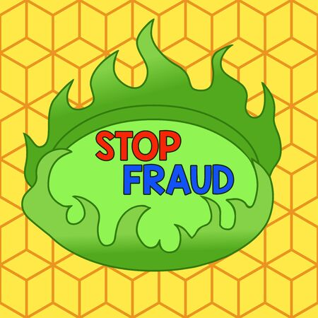 Word writing text Stop Fraud. Business photo showcasing campaign advices showing to watch out thier money transactions Asymmetrical uneven shaped format pattern object outline multicolour design Stockfoto