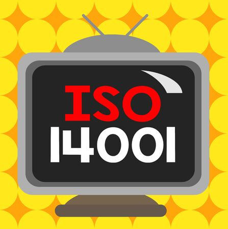 Conceptual hand writing showing Iso 14001. Concept meaning a family of standards related to environmental analysisagement Square rectangle unreal cartoon wood on the coloured wall Reklamní fotografie
