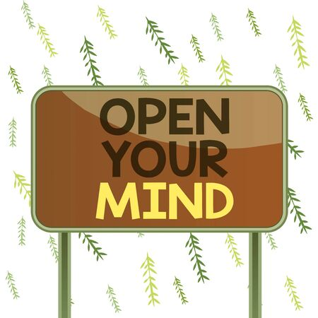 Handwriting text Open Your Mind. Conceptual photo Be openminded Accept new different things ideas situations Board ground metallic pole empty panel plank colorful backgound attached