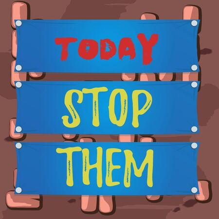 Word writing text Stop Them. Business photo showcasing used for telling someone not to do something that they are doing Wooden panel attached nail colorful background rectangle lumber plank wood