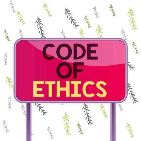 Handwriting text Code Of Ethics. Conceptual photo Moral Rules Ethical Integrity Honesty Good procedure Board ground metallic pole empty panel plank colorful backgound attached Banque d'images