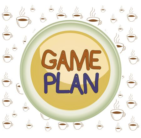 Writing note showing Game Plan. Business concept for strategy worked out in advance in sport politics or business Colored sphere switch center background middle round shaped 版權商用圖片 - 135243593