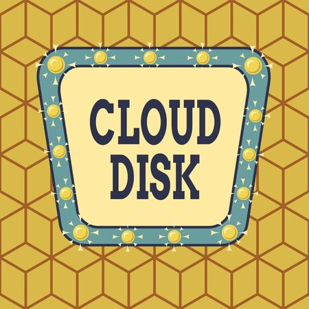 Conceptual hand writing showing Cloud Disk. Concept meaning web base service that provides storage space on a remote server Asymmetrical uneven shaped pattern object multicolour design 版權商用圖片