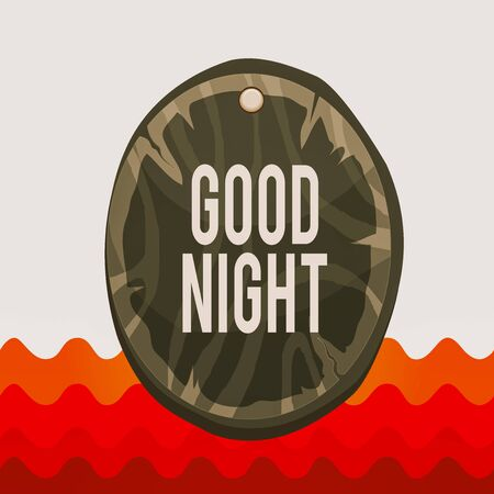 Conceptual hand writing showing Good Night. Concept meaning expressing good wishes on parting at night or before going to bed Oval plank round wooden board circle shaped wood background