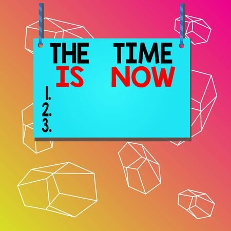 Word writing text The Time Is Now. Business photo showcasing encouraging someone to start doing today Dont be late Wooden board wood rectangle shape empty frame fixed colorful striped string Stock fotó