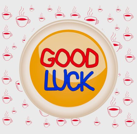 Writing note showing Good Luck. Business concept for wish positive fortune or happy outcome that a demonstrating can have Colored sphere switch center background middle round shaped 版權商用圖片